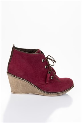 Shoes Time,Shoes Time Bot,Shoes Time Bordo Süet Bot 45W120