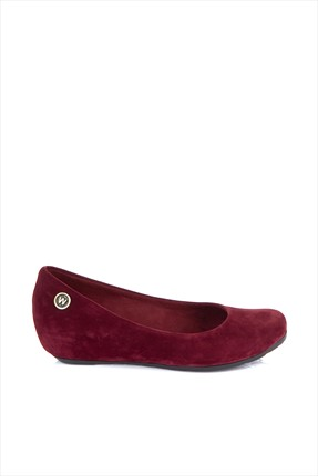 Shoes Time Bordo Nubuk Dolgu Topuklu