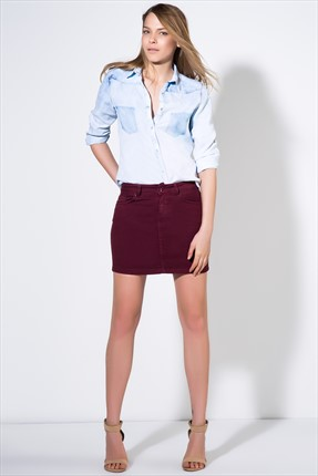 Milla by trendyol,Milla by trendyol Etek,Milla by trendyol Mini Bordo Denim Etek MLWAW156889