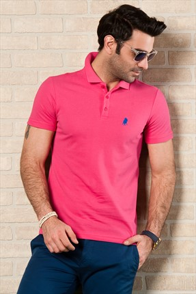 Sateen,Sateen Polo Yaka T-shirt,Sateen Fuşya Polo Yaka T-Shirt 101-15800