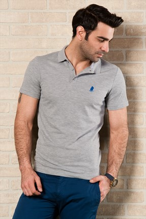 Sateen,Sateen Polo Yaka T-shirt,Sateen Gri Polo Yaka T-Shirt 101-15800