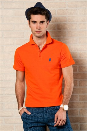 Sateen,Sateen Polo Yaka T-shirt,Sateen Turuncu Polo Yaka T-Shirt 101-15800