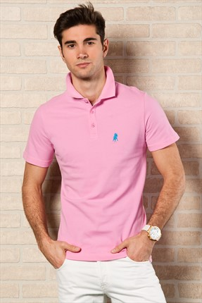 Sateen,Sateen Polo Yaka T-shirt,Sateen Pembe Polo Yaka T-Shirt 101-15800