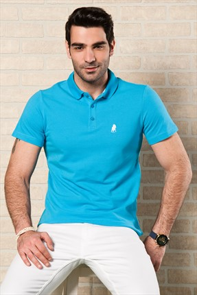 Sateen,Sateen Polo Yaka T-shirt,Sateen Turkuaz Polo Yaka T-Shirt 101-15800