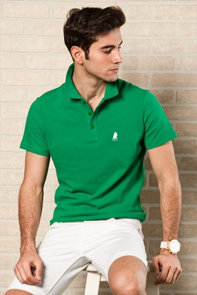 Sateen,Sateen Polo Yaka T-shirt,Sateen Yeşil Polo Yaka T-Shirt 101-15800