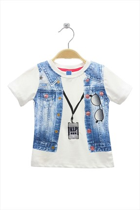 By Leyal For Kids,By Leyal For Kids T-shirt,By Leyal For Kids Kot Yelek Baskılı T-Shirt