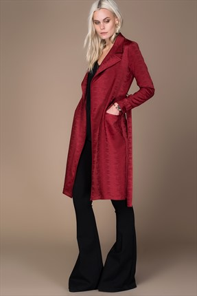 Milla by trendyol,Milla by trendyol Trenchcoat,Milla by trendyol Jakarlı Bordo Trenchcoat