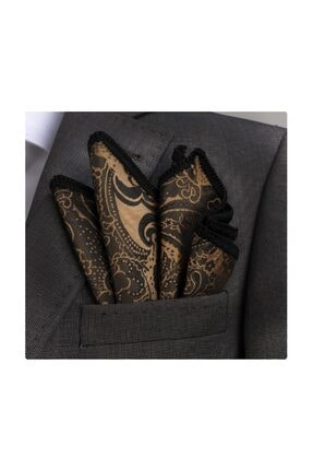 Altın Şal Desen Kenar Örgülü Cep Mendili^|en_us:gold Signature Border Pocket Square PH1086