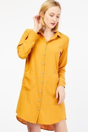 Tahta Düğmeli Cep Detaylı Hardal Tunik Elbise 30W0Y415021