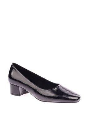Siyah Kırışık Rugan Kadın Topuklu Ayakkabı 500-1482