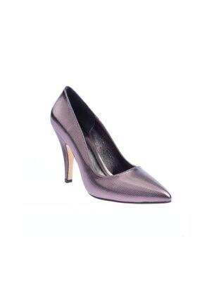 Platin Rengi Çizgili Ayna Kadın Topuklu Ayakkabı 1012-437-578