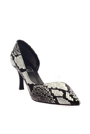 Siyah Yılan Kadın Topuklu Ayakkabı 152-186