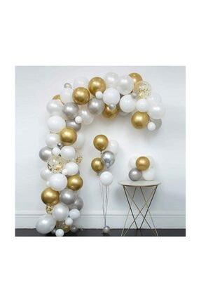 Beyaz Gümüş Gold Konfetili Balon Zincir Seti BYZGLDKFTT5