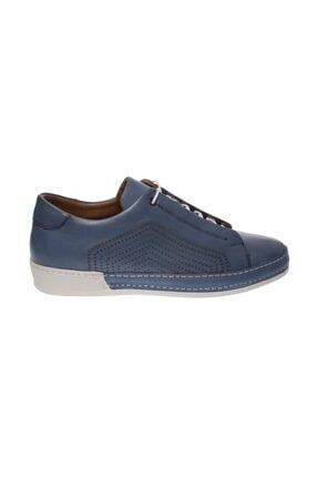 Mavi Hakiki Deri Bağcıklı Termo Erkek Günlük Ayakkabı  644