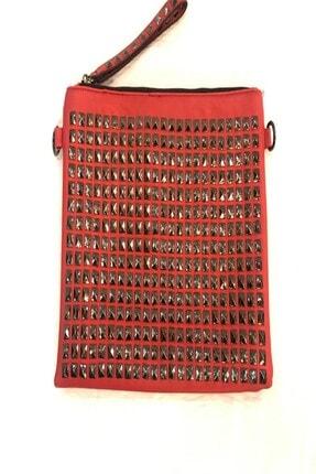 Kırmızı Zımbalı Porföy Suni Deri Çanta 15443