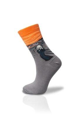 Gri Turuncu Çığlık Soket Çorap Unisex 36-42 VSocksM25