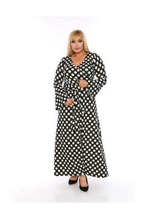 Siyah Beyaz Puantiyeli Kruvaze Yaka Volankol Elbise HB0077