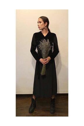 Kadife Kuşaklı Siyah Elbise ELBISE