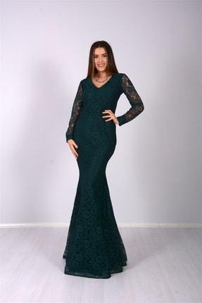 Full Dantel Tasarım Abiye Elbise - Zümrüt Yeşil GYM-0651-D-1x