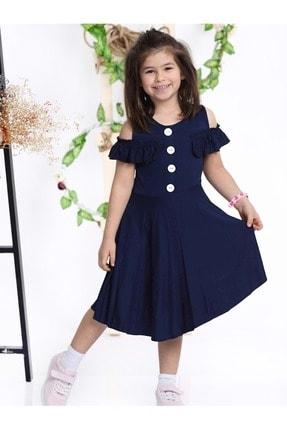 Cici Kız Düğmeli Penye Kız Çocuk Elbise sltn-dugme