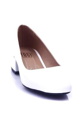 Beyaz Rugan Kadın Topuklu Ayakkabı 601-1609