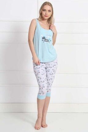 Kadın Kalın Askılı Normal Beden Lycralı Pamuklu Kaprili Pijama Takım 8111221534_A