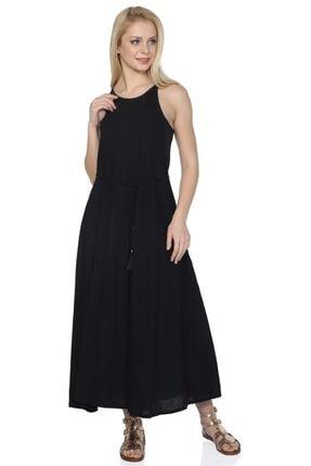 Kadın Siyah Uzun Askılı Kloş Elbise Sima Elbise
