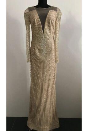 Kadın Altın Rengi Simli Kleopatra Model Abiye Elbise PNR-103