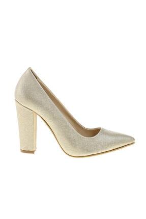 Kadın Gold Kalın Topuklu Ayakkabı 3467