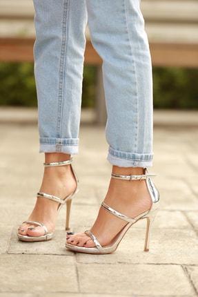 Kadın Gümüş Angelo Topuklu Sandalet tr2971