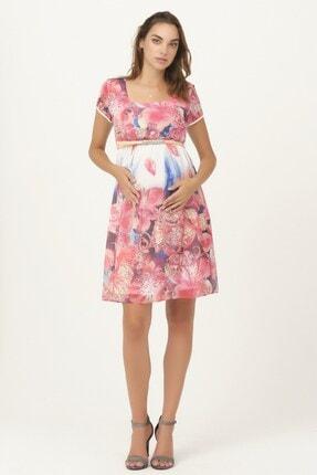 Hamile Çiçek Desenli Kemerli Mini Elbise Pembe 5820