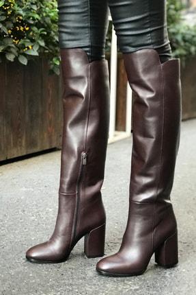 Kadın Kahve Deri Topuklu Çizme TT11419793TT