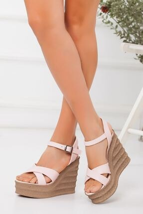 -dolgu Topuklu Ayakkabı-pudra ABN0407