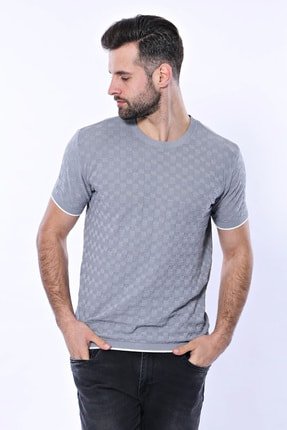 Kendinden Desenli Örme Gri Bisiklet Yaka T-shirt | WTT-200-GRI