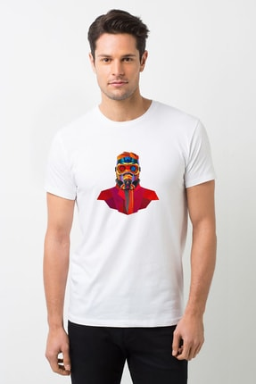Wars Baskılı Beyaz Erkek Örme Tshirt T-shirt Tişört T Shirt BGA2766ERKTS