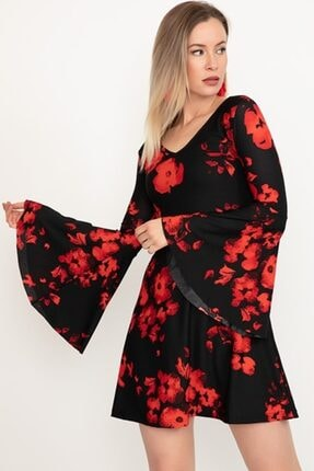Kadın Siyah  Volan Kol Elbise Elbise-100
