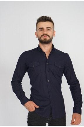 Erkek Lacivert Slim Fit Gömlek 1112