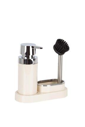 Polen Sıvı Sabunluk Seti Sıvı Sabunluk, Fırça, Süngerlik Bej NDYPLN-2