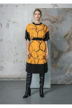 Kadın Sarı Desenli Kumaş Kemerli Elbise 42105491AA07