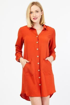 Tahta Düğmeli Cep Detaylı Kırmızı Tunik Elbise 30W0Y125021