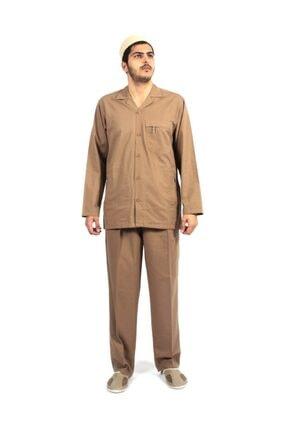 Hac Umre Kıyafeti Duble Cep Safari Takım Gabardin Kumaş Kahverengi E017-3