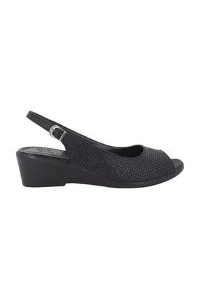 Siyah Dolgu Topuk Yazlık Kadın Ayakkabı By75-2004 BBY75-2004GBAS