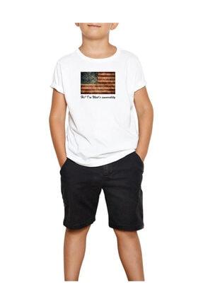 American Flag Vintage Beyaz Çocuk Tişört ZC-322