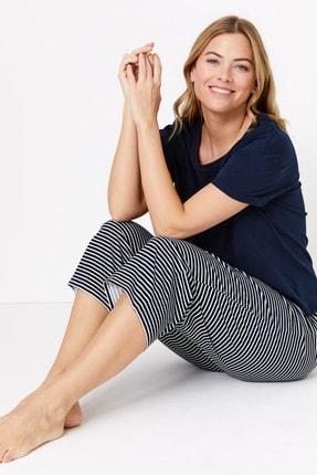 Kadın Lacivert Çizgili Crop Pijama Takımı T37004009F