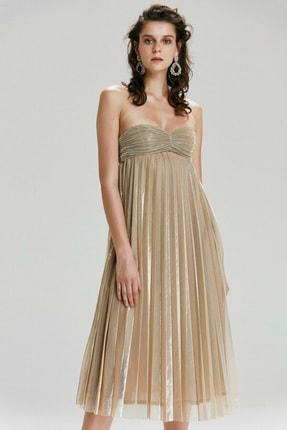 Kadın Altın Straplez Elbise 12436957000528