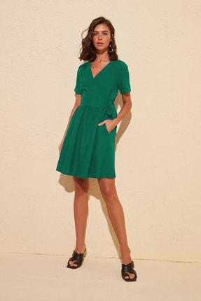 Zümrüt Yeşili Kruvaze Elbise TWOSS20EL1064
