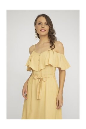 Kadın Sarı İnce Askılı Elbise Y19EL857