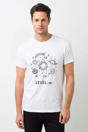 Gezegenler Baskılı Beyaz Erkek Örme Tshirt T-shirt Tişört T Shirt BGA1079ERKTS