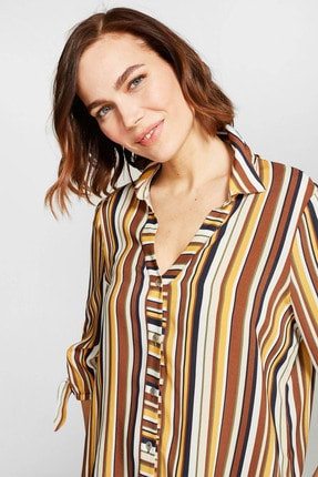 Kadın Multi Sırtı Bant Detaylı Çizgili Gömlek 38418 U38418