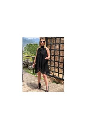 Siyah Şifon Elbise S00001